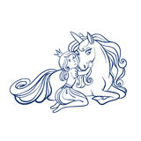 Little Princess Girl and Cute Unicorn, vector illustration Royalty Free Stock Photography