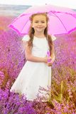 Little princess girl in lavender field with pink stock photography