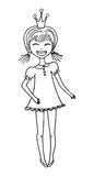Little princess girl. Little princess outline vector illustration. Cute smiling girl with ponytails wearing a crown in black isolated on white background Stock Photos