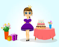 Little princess girls birthday. Girls birthday with cake, flowers and gifts Stock Photography