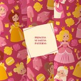 Little princess girls in evening gowns set of seamless patterns vector illustration. Elegant little female characters in. Flat style. Fashionable ladies in stock illustration