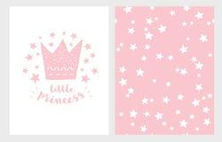 Little Princess. Hand Drawn Baby Shower Vector Illustration Set. Light Pink Design. Starry Pink Pattern. royalty free illustration