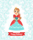 Little Princess happy birthday card Royalty Free Stock Image