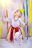 Little princess at her one year birthday Royalty Free Stock Image