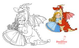 Little princess hugs dragon color and outlined picture Royalty Free Stock Photos