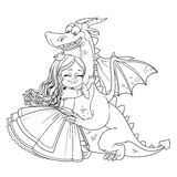 Little princess hugs dragon outlined picture for coloring book Royalty Free Stock Photos