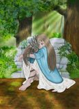 A little princess hugs her little dragon. A little girl hugs her little dragon in the woods Royalty Free Stock Photography