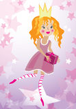 Little princess illustration. Little baby girl in crown celebrating birthday Stock Photo