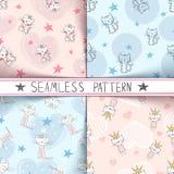 Little princess - kitty seamless pattern royalty free illustration