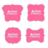 Little Princess Label Set Vector Illustration Stock Images