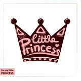 Little Princess lettering for girl t-shirt design on the crown. Crown typography, fashion textile, vector illustration royalty free illustration