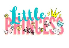 Little Princess lettering with girly doodles and hand drawn  Stock Photography