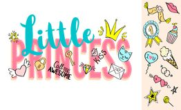 Little Princess lettering with girly doodles and hand drawn phrases for card design, girl`s t-shirt print, posters. Hand drawn slogan stock illustration