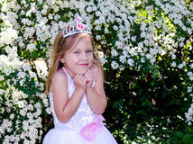 Little princess making a wish stock photo