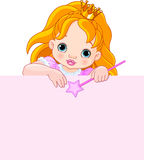 Little princess over blank sign Stock Photos