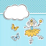Little princess with paper cloud Royalty Free Stock Photo