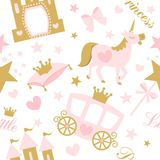 Cute girlish seamless pattern with royal carriage,castle and unicorn. Vector pink background with crown and star. stock illustration