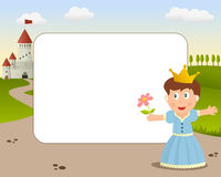 Little Princess Photo Frame. A funny cartoon photo frame with a cute little princess in full dress with the crown and a castle on background Royalty Free Stock Images