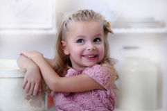 Little princess in a pink dress Stock Photo