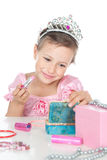 Little princess with a pink lipstick and crown Stock Image
