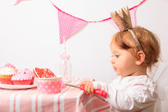 Little princess at pink party Royalty Free Stock Photos