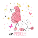 Little princess poodle vector illustration. Little princess vector illustration for kids design - poster, t-shirt. Cute watercolor poodle Stock Photography