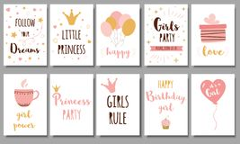 Free Little Princess Posters Set Girls Party Invitation Crown Birthday Text Phrases Quote Pink Girl Collection Quote Vector Stock Photo - 159847190
