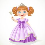 Little princess in purple dress and tiara holding magic wand Royalty Free Stock Photography