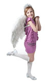 Little princess in purple dress and wings Royalty Free Stock Photos