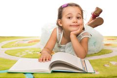 Little Princess Reading Fairy Tale Book Royalty Free Stock Photos