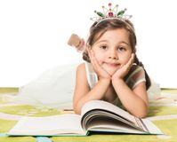 Little Princess Reading Fairytale Royalty Free Stock Photography