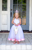 Little princess riding a unicorn Royalty Free Stock Photography
