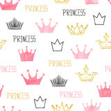 Little princess seamless pattern in pink and golden colors. stock illustration