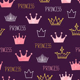 Little princess seamless pattern with watercolor and glittering crowns. Royalty Free Stock Image