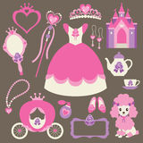Little Princess Set. Illustration of princess design elements Royalty Free Stock Photos