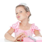 Little princess with a silver crown Royalty Free Stock Photos