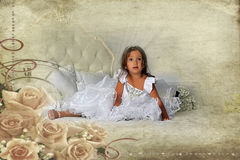 Little princess in a smart white dress Royalty Free Stock Images