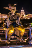Little Princess statue in Budapest, Hungary. Night view the statue of the Little Princess with Buda Castle in background. Budapest, Hungary Royalty Free Stock Image