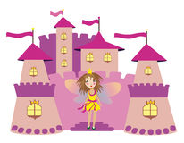 Little princess staying near the castle. Vector image of isolated cute pink castle and princess girl staying on the stairs Royalty Free Stock Images