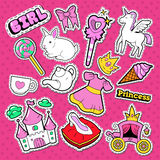 Little Princess Stickers, Badges and Patches. Doodle for Cute Girl with Unicorn, Crown and Lollipop Royalty Free Stock Images