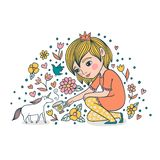 Little Princess Tames The Unicorn. Cute illustration. The girl treats the unicorn with tea royalty free illustration