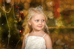 Little princess with  tiara. Little princess with tiara on holiday background Stock Photography