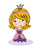 Little princess. Vector graphic image with cute little girl in crown and princess dress Stock Photos