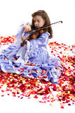 Little Princess and Violin Stock Photos