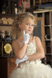 Little princess  in white dress Royalty Free Stock Images