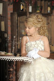 Little princess  in white dress Stock Photo