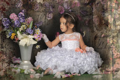 Little princess  in white dress Stock Image