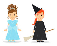 Little Princess and Witch. Little Princess and Little Witch. Children party costumes. Vector illustration Stock Images
