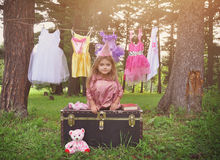 Little Princess in The Woods with Fashion Clothes Royalty Free Stock Photos