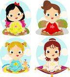 Little princesses with backgrounds Royalty Free Stock Photos